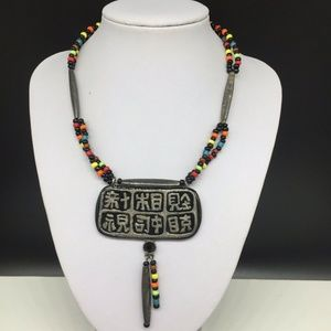 Chico's Glass Beaded Chinese Symbol Necklace